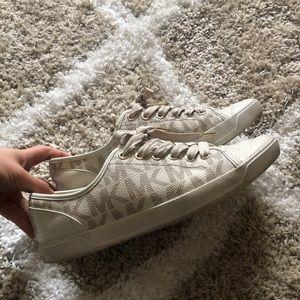 Cream colored Michael Kors MK sneakers